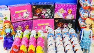 EGGS - MONSTER HIGH FROZEN BARBIE HELLO KITTY CARS SPONGEBOB Disney Kinder Surprise