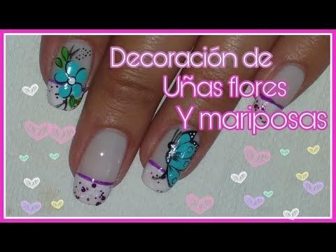 Decoracion de uñas - Decoración de uñas con mariposas y flores