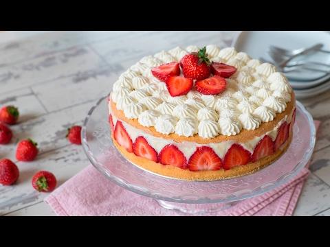 torta fraisier con panna e fragole - ricetta