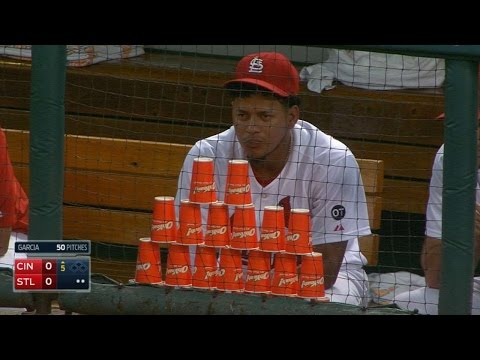 MLB Player very protective of his cup stack...