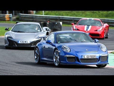 porsche 911 gt3 vs ferrari 458 speciale vs mclaren 650s - auto da sogno