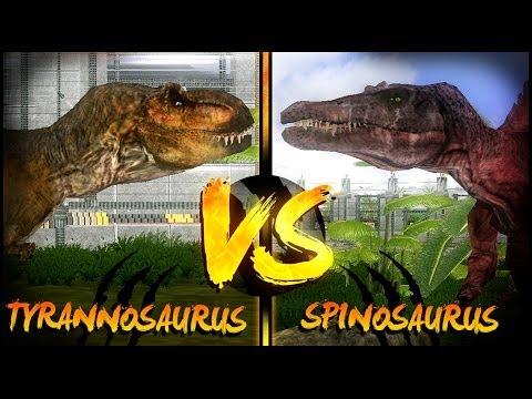 Dinosaur Battles - Tyrannosaurus VS Spinosaurus | Jurassic Park : Operation Genesis