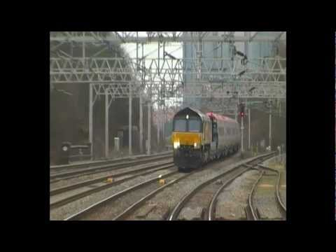Colas Rail, Class 66, 66847 with 8 Pendolino Coaches, Passing Rugeley Trent Valley (16th March 2012)