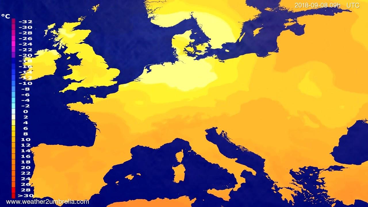 Temperature forecast Europe 2018-09-06