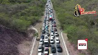 Congestionamiento del tránsito de regreso de Semana Santa 2019 entre Azua y cruce de Ocoa