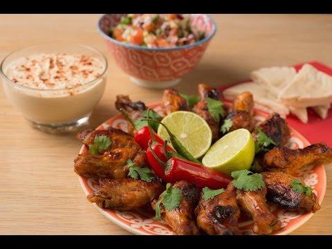 Hot Chicken Wings with Baladi Salad & Hummus Recipe