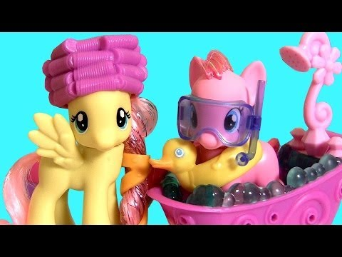 MLP Pinkie Pie & Fluttershy Ponies Crystal Sparkle Pool Bath Toys My Little Pony by Disneycollector