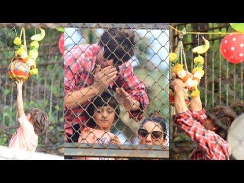 Shah Rukh Khan Breaks Dahi Handi With AbRam And Ga