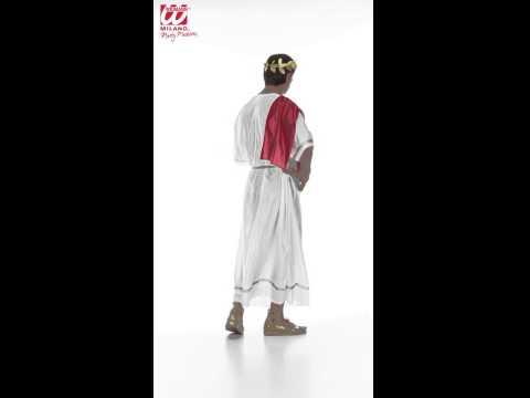 Déguisement César avec robe, toge et bracelet