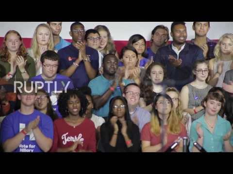 USA: Clinton tries to woo young voters during Philadelphia rally