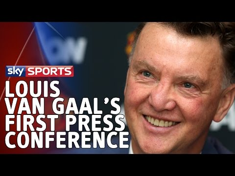 Conference - Louis van Gaal's first press conference since taking over as manager at Manchester United. Louis van Gaal believes his football philosophy will bring success back to Manchester United, what...