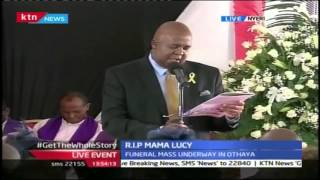 David Kibaki Gives Tribute To His Late Mother Lucy Kibaki During Funeral Service