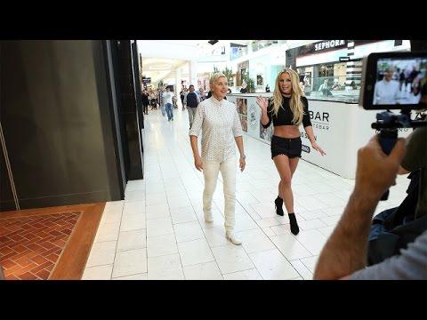 فقط لأنهما من المشاهير..شاهد ماذا فعلت بريتني سبيرز مع إلين دي جينيريس في مركز للتسوق