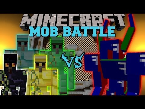 Diamond Golem, Emerald Golem, Gold Golem and Obsidian Golem Vs. Apis - Minecraft Mob Battles