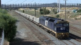 Culcairn Australia  City pictures : Southbound EMD on Concrete Sleeper train: Australian Trains