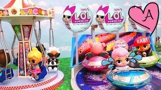 Muñecas bebes LOL Surprise en parque de diversiones de Playmobil - Juguetes con Andre