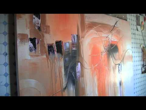 Abstract acrylic painting Demo – Abstrakte Malerei — Orange Power by Sabine Belz