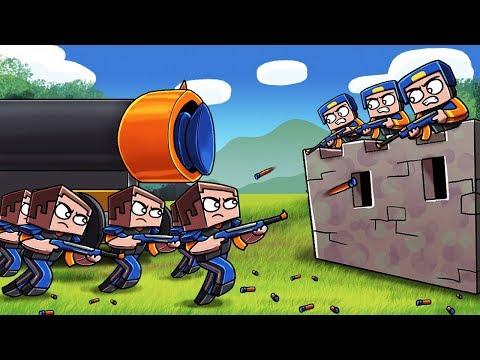 Minecraft - NERF WAR BASE CHALLENGE: Blue vs Orange! (NERF WAR MODS) (видео)