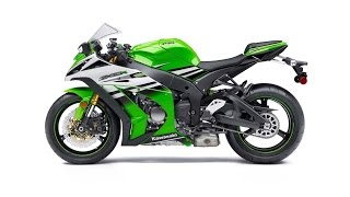 10. 2015 Kawasaki Ninja ZX 10R, 30th Anniversary model features Lime Green/Pearl Stardust White