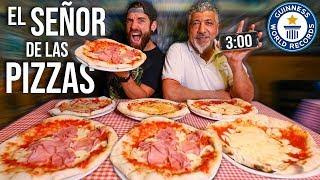ME ENFRENTO AL SEÑOR DE LAS PIZZAS EN UN RETO DE COMIDA *3 MINUTOS PARA COMER TODO*