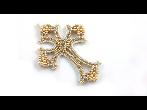 Beading4perfectionists : Mildred's Cross Herringbone & CRAW Beading Tutorial