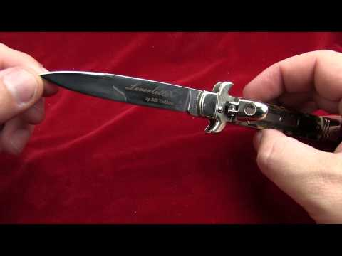 "AKC 7.5"" Leverletto Dark Horn Automatic Knife - Flat Grind Damascus"