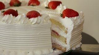 Learn how to make this simple home made yet elegant white cake with fresh whip cream and strawberries. The cake has no butter ...