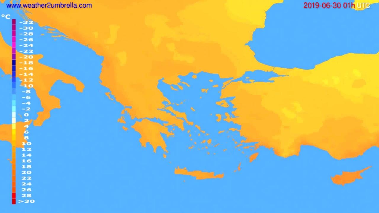 Temperature forecast Greece // modelrun: 00h UTC 2019-06-28