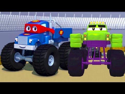Carl the Super Truck and the Monster Truck Hulk in Car City   Cars &Trucks Cartoons fo Kids 🚗️ (видео)