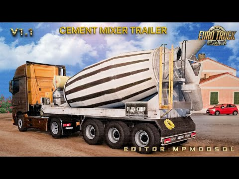 Cement Mixer Trailer v1.0 For Multiplayer ETS2 1.37