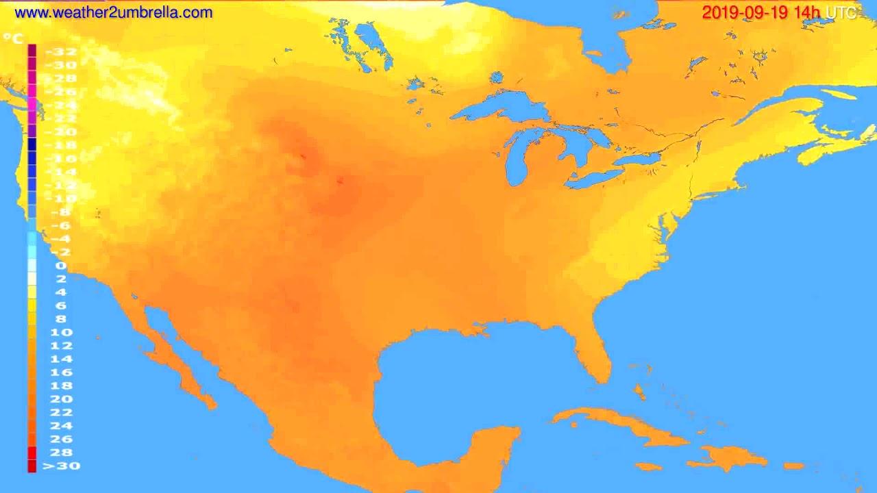 Temperature forecast USA & Canada // modelrun: 00h UTC 2019-09-17