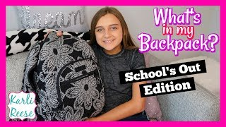 """Let's see what kind of stuff I have in my backpack at the end of the school year! Comment below what the strangest thing was that you found in your backpack on the last day of school?♥  SUBSCRIBE!   http://bit.do/karlireeseI post new videos every Friday!Watch my last video - https://youtu.be/MHQxmUOcyV41 Year Ago - https://youtu.be/MHQxmUOcyV4Daily videos at my Our Family Nest - http://youtube.com/ourfamilynestMy Mom's Channel - http://bit.ly/2ffeAACMy Dad's Channel - http://bit.ly/2gh00roAndrew's Channel - I am Drew -  http://youtube.com/iamdrew95♥ FOLLOW ME ♥i  n  s  t  a  g  r  a  mhttp://instagram.com/karlireeset  w  i  t  t  e  rhttp://twitter.com/karlireesem u s i c a l y . l y24_karkar_24f  a  c  e  b  o  o  k http://facebook.com/iamkarlireeseb  l  o  g   http://karlireese.com*************************************************************♥ BUSINESS INQUIRIES ♥mail@ourfamilynest.com - Subject Line """"KarliReese""""*************************************************************Thank you for watching my video today! You can also find me on our family's channel - Our Family Nest.  On my channel you will find more of what I love... shopping, crafts, dance, gymnastics, and my pets…Pretty much anything girly! Thank you for stopping by and I hope you have fun here on my channel.Note... My YouTube channel is monitored and ran by my parents :)♥ Karli ReeseSome Music in videos by Epidemic Sound - http://www.epidemicsound.com"""