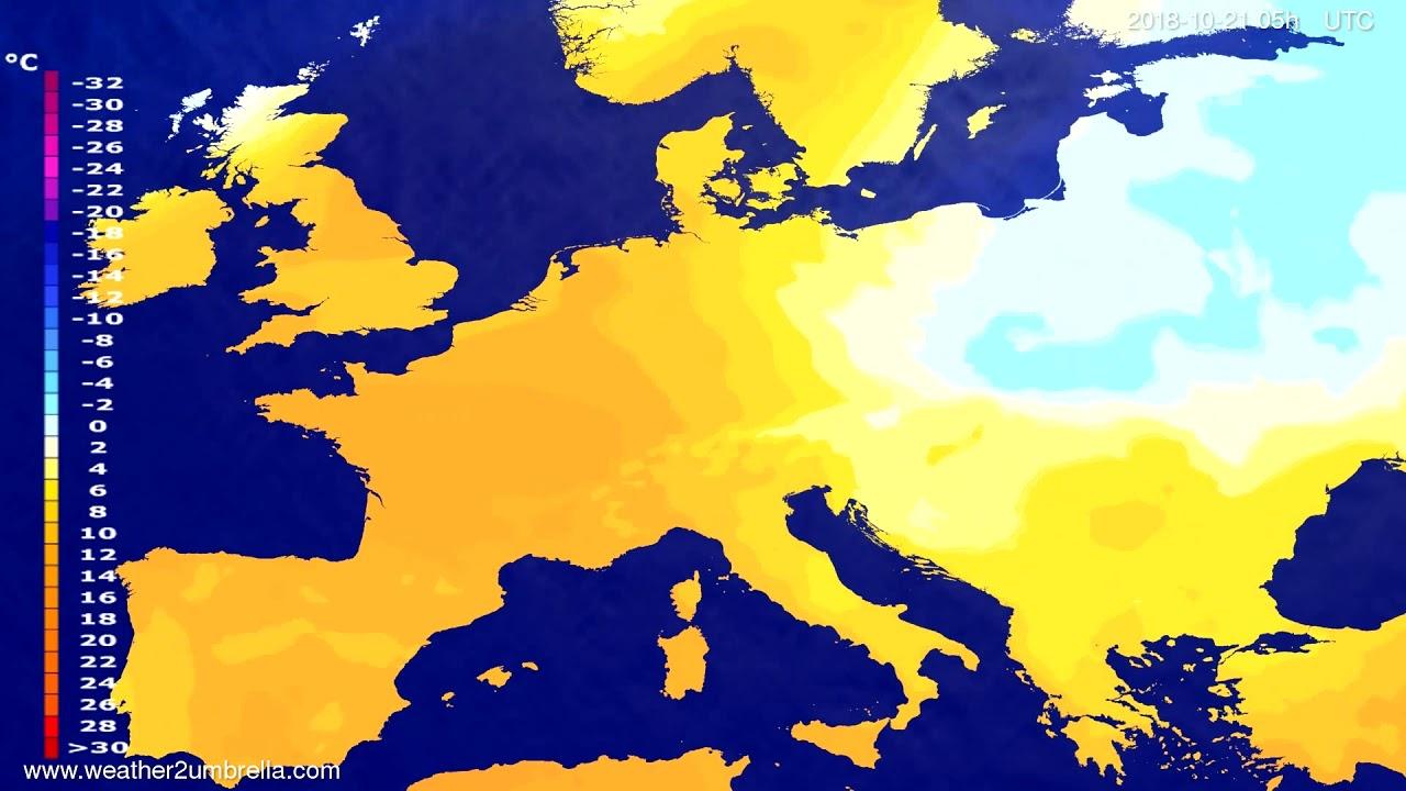 Temperature forecast Europe 2018-10-18