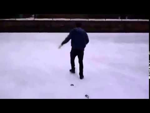 Ржач 2013  Парень провалился в замерзший бассейн!!! (видео)
