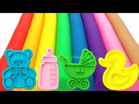 Learn Colors with 8 Color Play Doh Modelling Clay and Cookie Molds I Surprise Toys Yowie