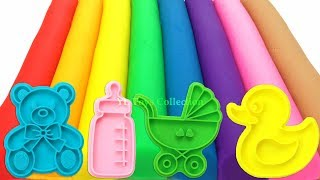 Learn Colors with 8 Color Play Doh Modelling Clay and Cookie Molds