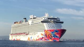 Video of Dream cruises new build Genting Dream departing the port of Gibraltar 16/10/2016.