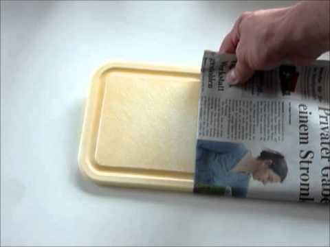 Plastikgeschirr mit Tomaten verfärbt, wieder schön ohne Chemie