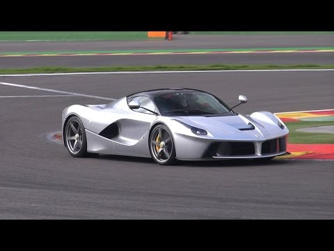 silver ferrari laferrari hits the track!