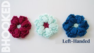 How to Crochet the Puff Stitch Flower Left Handed - YouTube