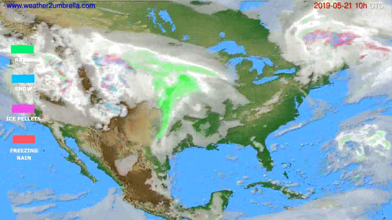 Precipitation forecast USA & Canada // modelrun: 12h UTC 2019-05-18
