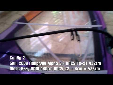 Windsurfing Mast Test 2009 Neilpryde Alpha 5.4 rigged on X9 Wave and Ezzy 430