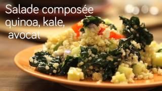 Salade composée quinoa, kale, avocat