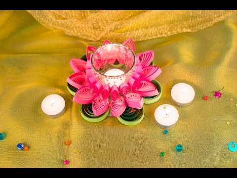 Diya decoration with quilled flower