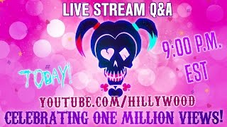 Creators of The Hillywood Show, Hilly and Hannah Hindi answer YOUR questions about the making of their latest production: Suicide Squad Parody and celebrate ONE MILLION VIEWS!  - https://youtu.be/96Pv1NoUaCY_____________________Watch Suicide Squad Parody again ⭐️https://youtu.be/96Pv1NoUaCY_____________________JOIN THE HILLYWOOD SQUAD 💚Donate: http://www.Patreon.com/Hillywood_____________________FOLLOW THE HILLYWOOD SHOW ⭐️Subscribe: http://www.youtube.com/subscription_center?add_user=JckSparrowWebsite: http://www.TheHillywoodShow.comMerchandise: http://www.ShopHillywood.comTwitter: http://www.Twitter.com/HillywoodShowFacebook: http://www.Facebook.com/TheHillywoodShowTumblr: http://www.TheHillywoodShow.Tumblr.comInstagram: http://www.Instagram.com/TheHillywoodShowE-mail For Business/Press Inquiries: TheHillywoodShow@aol.com _____________________FOLLOW HILLY ⭐️Twitter: http://www.Twitter.com/HillyHindiFacebook: http://www.Facebook.com/HillyHindiOfficialInstagram: http://www.Instagram.com/HillyHindiTumblr: http://www.HillyHindi.Tumblr.comSnapchat: HillyHindi_____________________ FOLLOW HANNAH ⭐️Twitter: http://www.Twitter.com/HannahHindiFacebook: https://www.facebook.com/Hannah-Hindi-102206209819456/?fref=tsInstagram: http://www.Instagram.com/HannahHindiOfficialTumblr: http://www.HannahHindi.Tumblr.com______________________