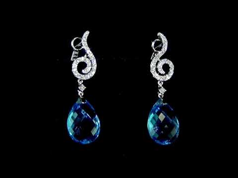 Lady's 14k White Gold 19.6ct (TW) Blue Topaz and Diamond Dangling Earrings