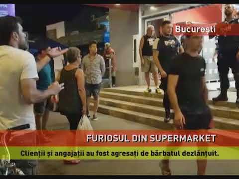 Un bărbat agresiv a atacat angajații și clienții unui supermarket din București