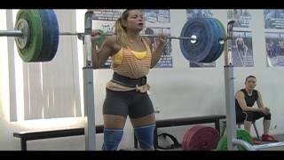 Daily Training 4-15-13 - Weightlifting training footage of Catalyst weightlifters. Audra back squat, Jessica back squat, Tamara clean and jerk, Brian back squat, Tamara clean pull. - Catalyst Athletics Olympic Weightlifting Videos