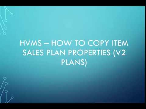 HVMS How-To Video: Inventory copying sales plan settings from one inventory item to another