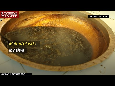 A store in Oman that made halwa using melting plastic buckets has been closed down